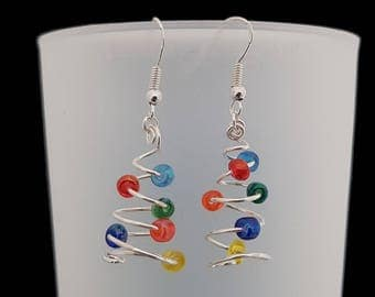 Christmas tree earrings • Sterling silver & glass beads Christmas earrings • Festive earrings • Secret santa • Christmas Party