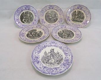6 antique Joan of Arc Digoin Sarreguemines France vintagefr vintage dessert plates