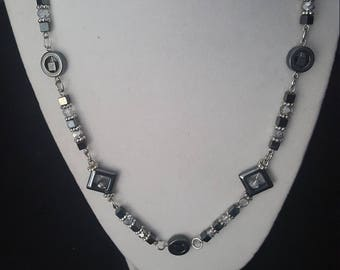 Slate Gray and Silver Necklace