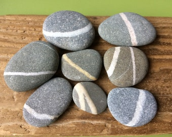 Wishing stones , wishing pebbles , grey beach stones , natural stripe stones , natural striped stones , stripe stones , striped stones