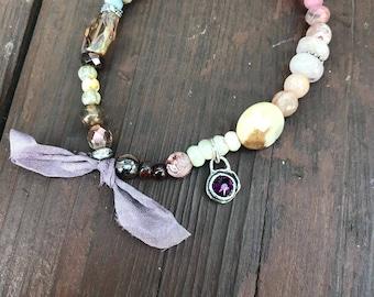 Bracelet, stretch bracelet, beaded bracelet, boho bracelet, gemstone bracelet, sterling bracelet