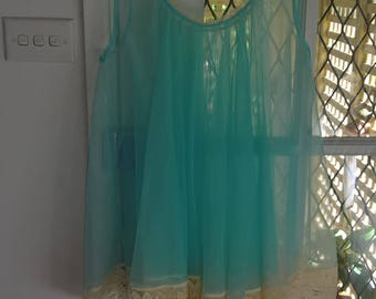 Sheer Baby Doll Blue Night Gown -  - Lolly Blue  - Lingerie - See Through - Night Dress - Honey Moon - Bridal Size 12