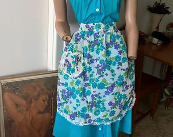 Vintage 70's sheer floral apron with pocket and lace trim