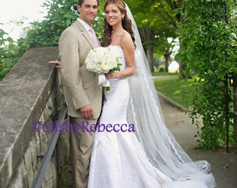 1 tier Cathedral Beading Lace Veil-Slim Beading Lace Veil-Beading Lace Wedding Veil V637-1 layer Beading Cathedral Veil