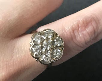 Valentine's Day Sale! Vintage 14k and diamond daisy cluster ring