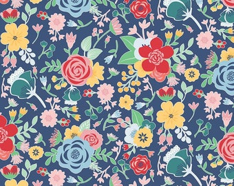 SALE Midnight Blooms Main Navy - Riley Blake Designs - Blue Floral Flowers - Quilting Cotton Fabric - choose your cut
