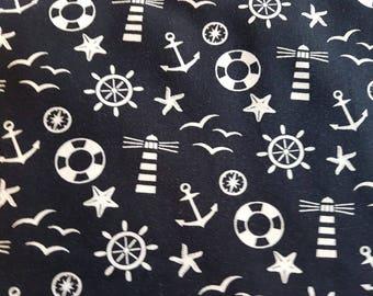Seaside  - Navy , Cotton Lycra Jersey Knit Fabric