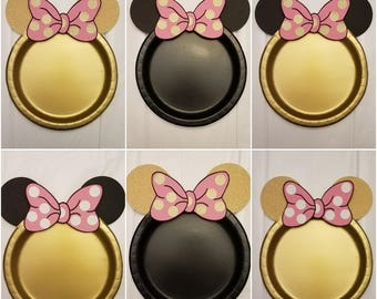 Minnie Gold and Pink Plates