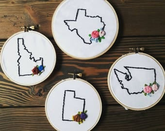 State Floral Embroidery Hoop
