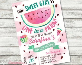 ONE in a Melon First Birthday Invitation