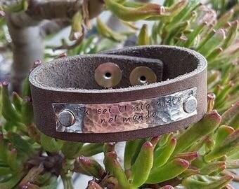 Leather Wrap bracelet with custom written