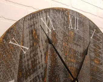 "24"" Large rustic wall clock, made from rough cut lumber and finished to give it that reclaimed lumber / barn wood look."