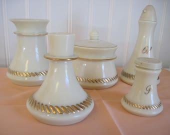 Wheaton Creamer, Sugar Bowl, Candle Holder, Salt Shaker, Oil Dispenser-Custard Glass set - Item #1327
