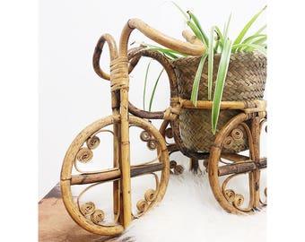Vintage Unique Rattan Planter / Vintage Bike Planter / Vintage Bamboo Planter