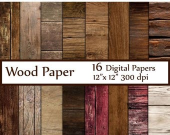 "40%SALE Wood Digital Paper: ""WOOD PAPER"" Wood Backdrop Printable Wood textured paper Wood Digital Background Wood Scrapbook Paper Rustic Woo"