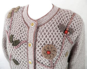 Vintage Ladies Wool and Mohair Cardigan Jacket by Creor  French Chic  Size XL