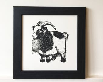 Billy Goat Lino Print