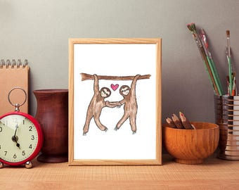 Sloth Love Watercolour and Ink Print Valentine's Gift