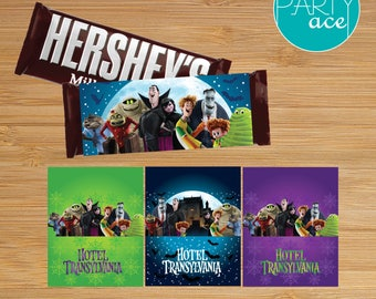 Hotel Transylvania Chocolate Bar Wrappers Printable Birthday Party Decoration