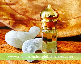 Organic Pure Essence of Hojary Frankincense Essential Oil Hydro-Distilled Dhofar Valley of Oman, Boswellia sacra. 3ml decanter as pictured