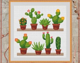 Cactus cross stitch, Succulent cross stitch, Cacti cross stitch, Blooming cactus, Cactus flower, Blooming cacti, Cactus shelfes, Xstitch PDF