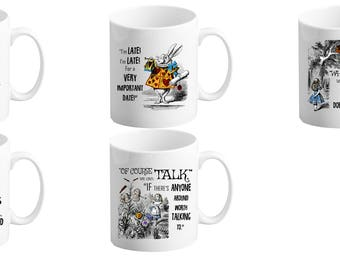 Pair of Alice in Wonderland Mugs | Variety Available| Tea/Coffee Cups | 11/10oz
