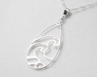 Sterling Silver Wave Necklace, Ocean Necklace, Sterling Silver Water Pendant, Sea Waves Pendant, Beach Jewelry, Simple Silver Necklace