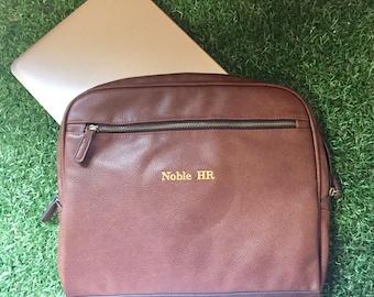 Personalised initialed laptop bag-Georgie NuHide black leather look