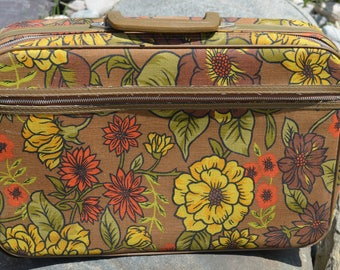 Vintage 1960s Floral Luggage Green Colourful Flower Canvas Suitcase Carry On Fabric Luggage, Bantam bag, Japan