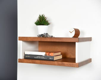 floating bedside table in iroko and corian entryway suspended in midcentury furniture