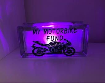 New Motorbike fund savings glass box, light up money box, savings box, savings bank,