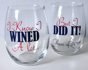 Graduation Wine Glasses, Personalized Graduation Gift, Class of 2018, Fraternity Gift, Sorority Gift, Personalized Wine Glass,
