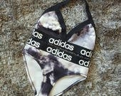 Reworked Black and white adidas bikini set