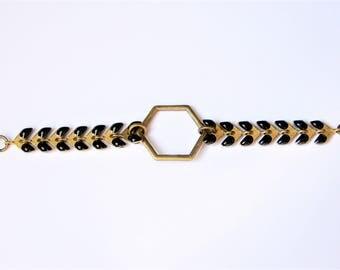 Spike and black Hexagon chain bracelet