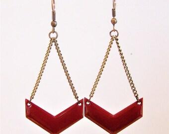 Burgundy red enameled chevron earrings