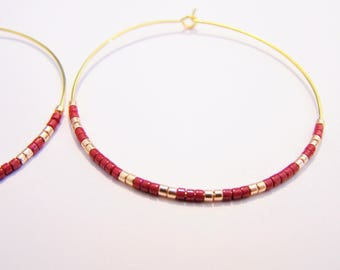 Creole earrings gold and Burgundy and gold miyuki beads