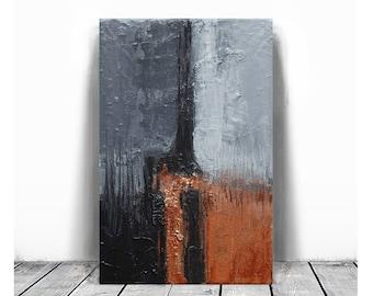 Modern Art, gray and orange, black, copper , oil painting , canvas art, Abstract Texture, palette knife, industrial art, Ela Szczepaniak