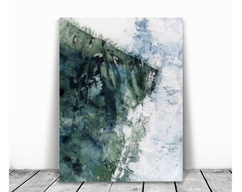Home decor, small painting, wall art, Landscape Painting, Contemporary Art, Watercolor art, original painting, teal and blue white