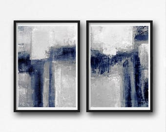 Scandinavian abstract, Printable Art, Art Poster, modern abstract, Industrial Decor, indigo, white grey, light grey large print, navy blue