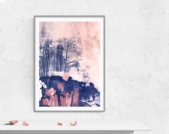 Printable Art,  Art Poster, Digital Download, Wall Decor, navy blue and pink, modern abstract, scandinavian design, pink blush pink i8ndigo