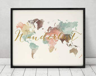 Wanderlust, World map pastel, watercolor world map poster with faux gold text, art print, Large map, Travel decor, Home Decor ArtPrintsVicky