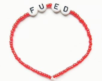 F*ck you ED // FU ED // Red Seed Bead Bracelet // Recovery, Mental Health, Eating Disorder,  Positivity