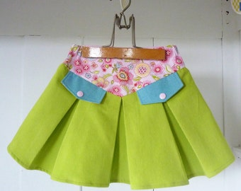 Skirt 3 years girl loose fitting pleated lime green velvet and printed flowers