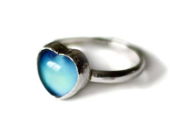 Sterling Mood Ring, Silver Mood Ring, Mood Ring Sterling, Mood Stone Ring, Sterling Mood Ring, Vintage Mood Ring, Color Changing Ring, Mood