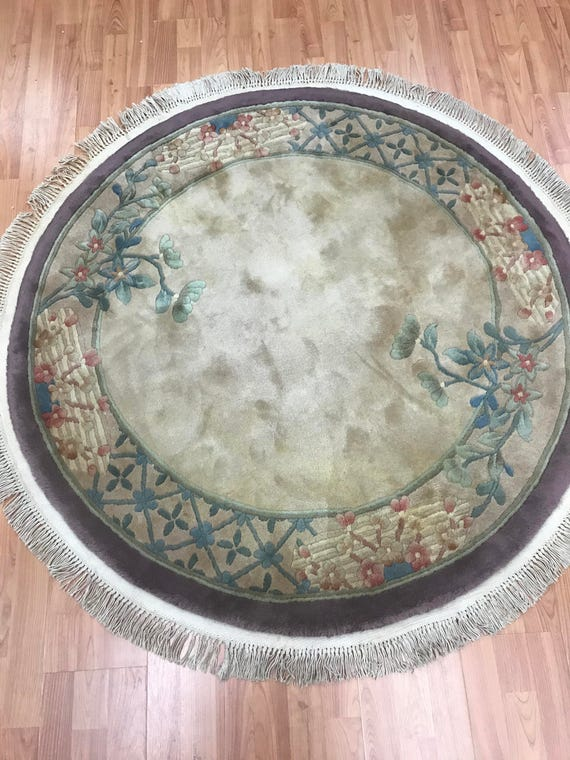 "4'1"" x 4'1"" Round Chinese Art Deco Oriental Rug - Hand Made - 100% Wool"