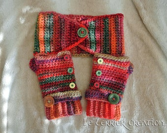 """Weasley"" crochet headband and mittens set"