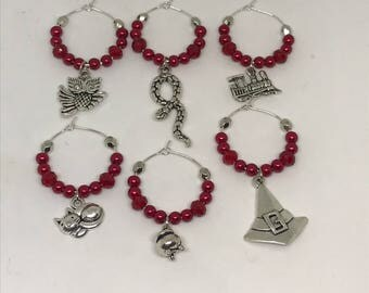 Set of 6 witch & wizard themed wine glass charms