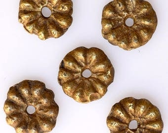 Vintage Peul Bronze Beads - 12mm Bronze Flower Spacer Beads - African Trade Beads - 20 Beads