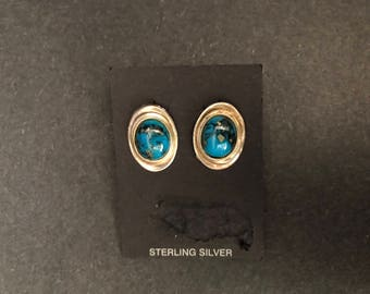 Vintage Round Sterling Silver Earrings with a Turquoise Stone