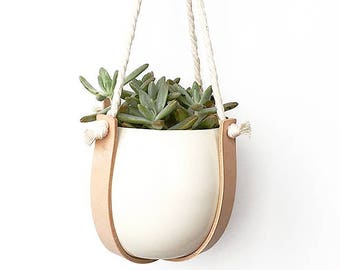 Macrame Leather and Rope Plant Hanger